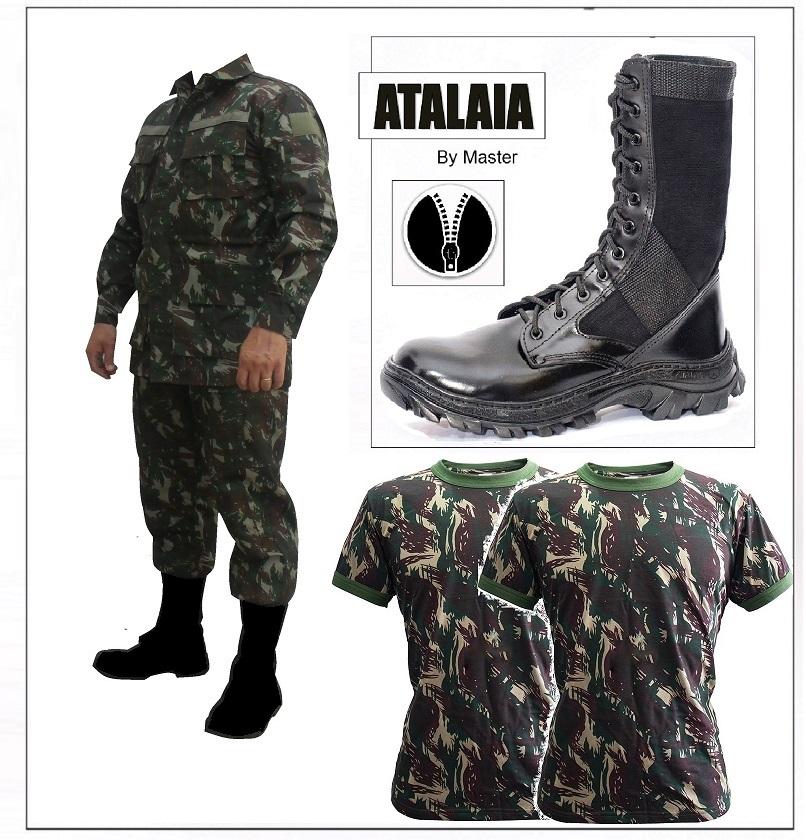 7bcdd7051f 1 Farda Lisa Alta Solidez + 1 TROLLER Lona Preta com Ziper + 2 Camisetas  Camufladas
