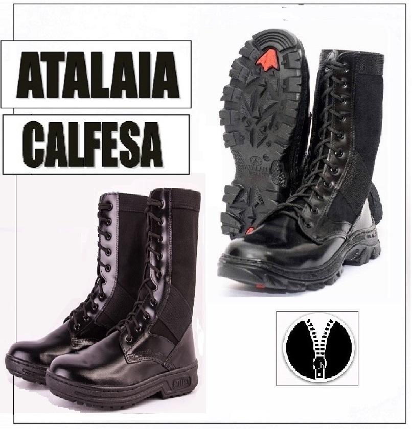0d14ffcabe4ae 2 Pares de Coturnos  CALFESA e TROLLER – Lona Preta – com zíper